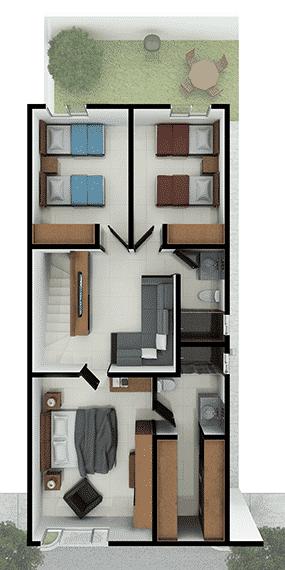 Foto de casas en Escobedo, N.L. Anáhuac San Patricio, modelo Ibiza VI, distribución planta alta.