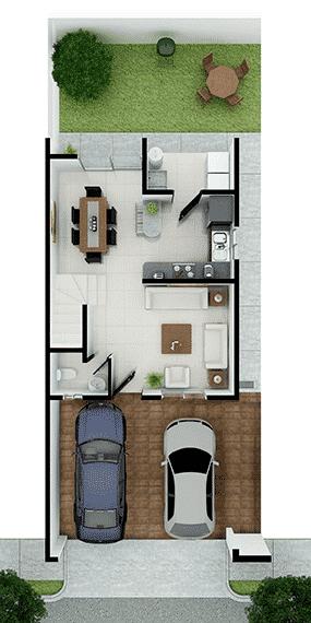 Foto de casas en Escobedo, N.L. Anáhuac San Patricio, modelo Ibiza VI, distribución planta baja.
