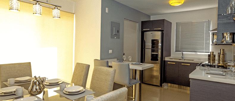 Foto de casas en Escobedo, N.L. Anáhuac San Patricio, modelo Ibiza VI, comedor y cocina.